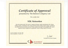 April 2015, Siemon Certificate of Approval